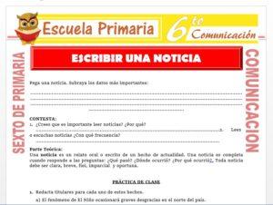 Modelo de la Ficha de Como Escribir una Noticia para Sexto de Primaria