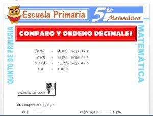 Modelo de la Ficha de Comparando y Ordenando Decimales para Quinto de Primaria