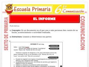 Modelo de la Ficha de Concepto de Informe para Sexto de Primaria