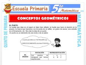 Modelo de la Ficha de Conceptos Geométricos Fundamentales para Quinto de Primaria