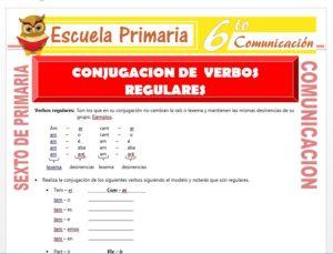 Modelo de la Ficha de Conjugacion de Verbos Regulares para Sexto de Primaria