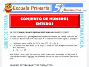 Modelo de la Ficha de Conjunto de Números Enteros para Quinto de Primaria