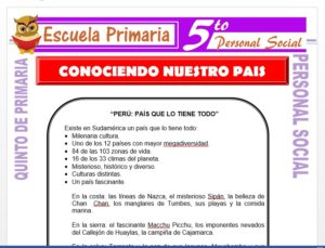 Modelo de la Ficha de Conociendo Nuestro País para Quinto de Primaria