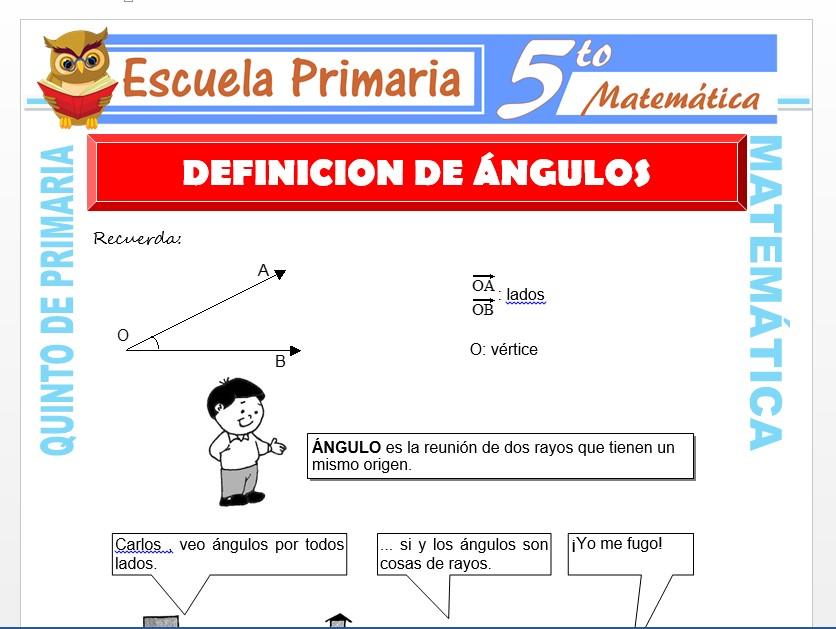 Modelo de la Ficha de Definición de Ángulos  para Quinto de Primaria