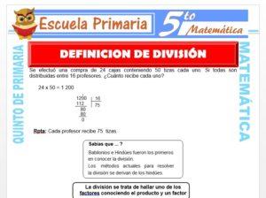 Modelo de la Ficha de Definición de la División para Quinto de Primaria
