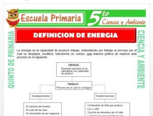 Modelo de la Ficha de Definición de Energia para Quinto de Primaria