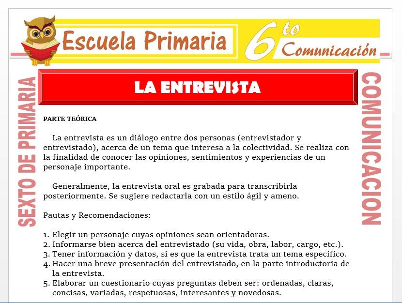Modelo de la Ficha de Definición de Entrevista para Sexto de Primaria