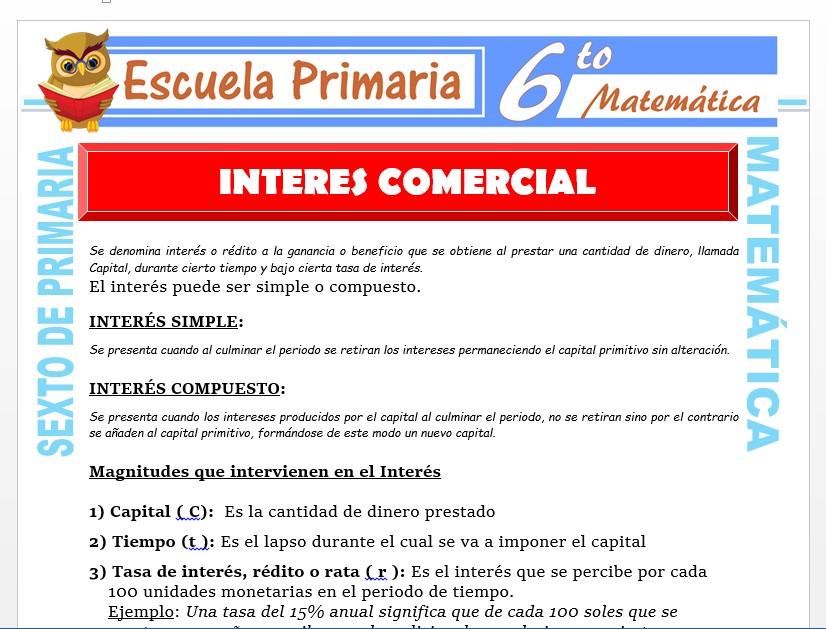 Modelo de la Ficha de Definiciones de Interés Comercial para Sexto de Primaria
