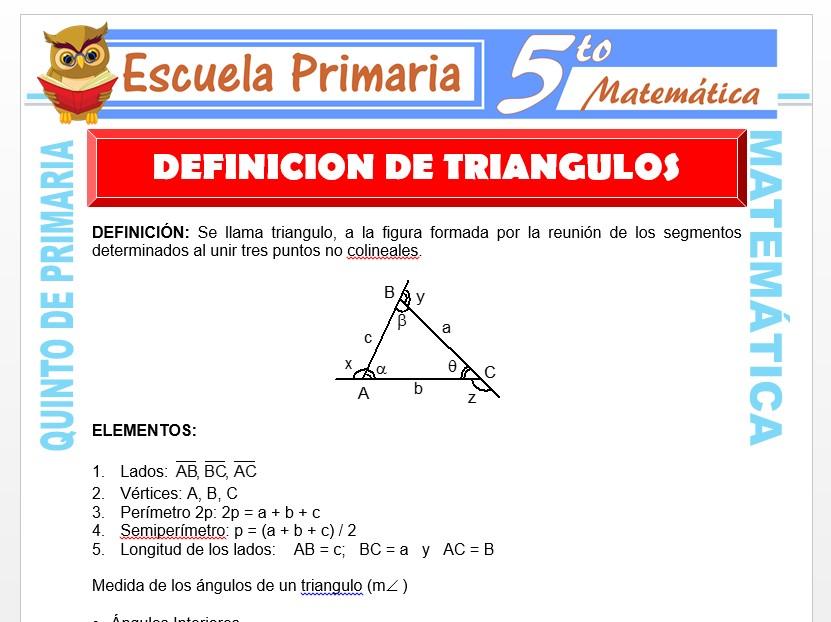 Modelo de la Ficha de Definición de Triángulos  para Quinto de Primaria