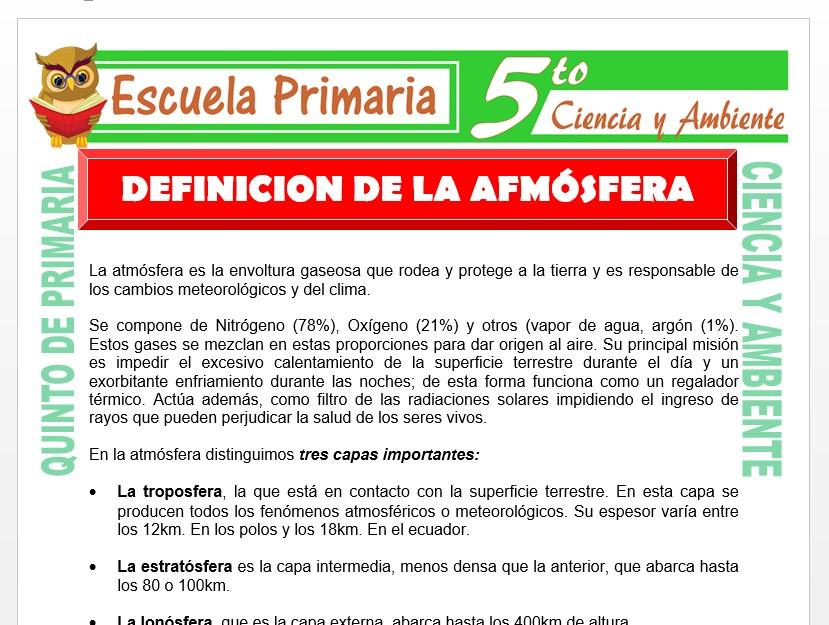 Modelo de la Ficha de Definición de la Atmosfera para Quinto de Primaria