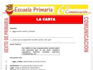 Modelo de la Ficha de Definición de la Carta para Sexto de Primaria