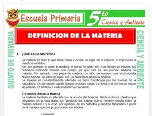 Modelo de la Ficha de Definición de la Materia para Quinto de Primaria