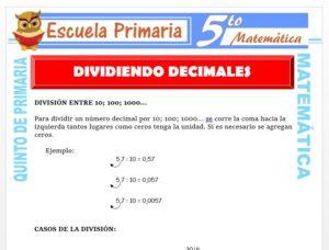 Modelo de la Ficha de Dividiendo Decimales para Quinto de Primaria