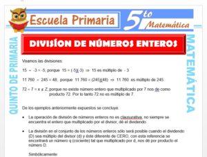Modelo de la Ficha de División de Números Enteros para Quinto de Primaria