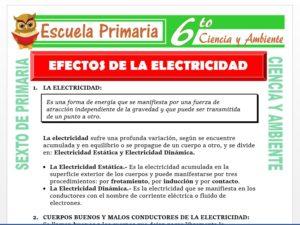 Modelo de la Ficha de Efectos de la Electricidad para Sexto de Primaria