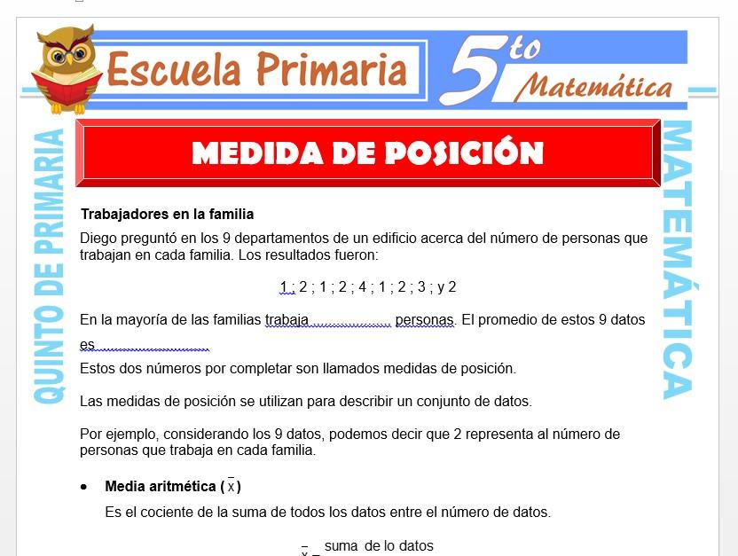Modelo de la Ficha de Ejemplo de Medida de Posición para Quinto de Primaria