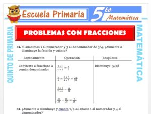 Modelo de la Ficha de Ejemplos de Problemas con Fracciones para Quinto de Primaria
