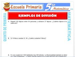 Modelo de la Ficha de Ejemplos de División para Quinto de Primaria