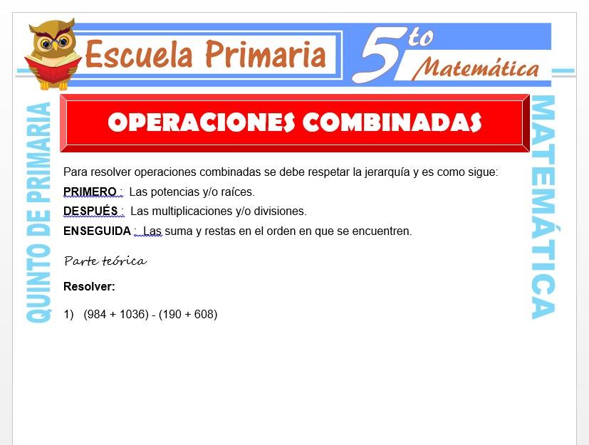 Modelo de la Ficha de Ejemplos de Operaciones Combinadas para Quinto de Primaria