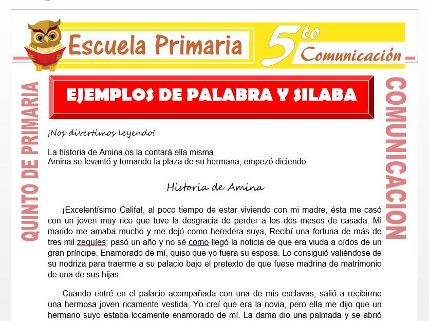 Modelo de la Ficha de Ejemplos de Palabra y Silaba para Quinto de Primaria