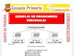 Modelo de la Ficha de Ejemplos de Pronombres Personales para Quinto de Primaria