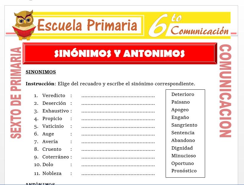 Modelo de la Ficha de Ejemplos de Sinonimos y Antonimos  para Sexto de Primaria
