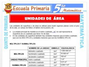 Modelo de la Ficha de Ejemplos de Unidades de Área para Quinto de Primaria