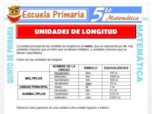 Modelo de la Ficha de Ejemplos de Unidades de Longitud para Quinto de Primaria