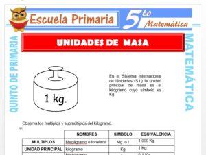 Modelo de la Ficha de Ejemplos de Unidades de Masa para Quinto de Primaria