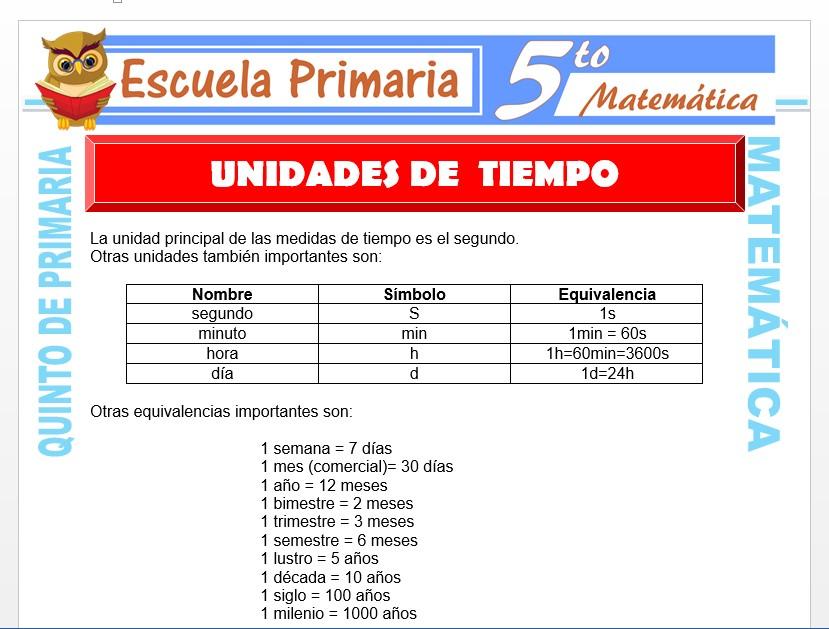 Modelo de la Ficha de Ejemplos de Unidades de Tiempo para Quinto de Primaria