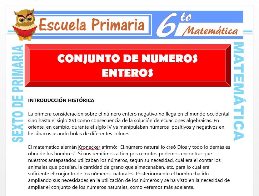 Modelo de la Ficha de Ejercicios de Conjunto de Números Enteros para Sexto de Primaria