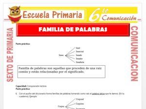 Modelo de la Ficha de Ejercicios de Familias de Palabras para Sexto de Primaria