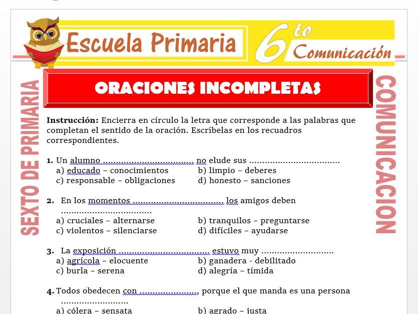Modelo de la Ficha de Ejercicios de Oraciones Incompletas para Sexto de Primaria