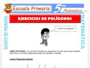 Modelo de la Ficha de Ejercicios de Polígonos para Quinto de Primaria