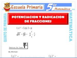 Modelo de la Ficha de Ejercicios de Potenciación y Radicación de Fracciones para Quinto de Primaria