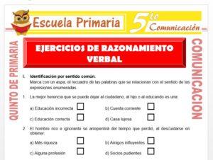 Modelo de la Ficha de Ejercicios de Razonamiento Verbal para Quinto de Primaria