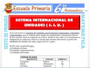 Modelo de la Ficha de Ejercicios de Sistema Internacional de Unidades para Sexto de Primaria