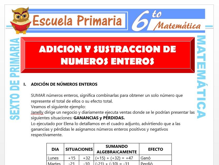 Modelo de la Ficha de Ejercicios de Suma y Resta de Números Enteros para Sexto de Primaria