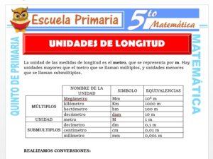 Modelo de la Ficha de Ejercicios de Unidades de Longitud para Quinto de Primaria