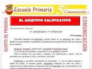 Modelo de la Ficha de El Adjetivo Calificativo para Quinto de Primaria