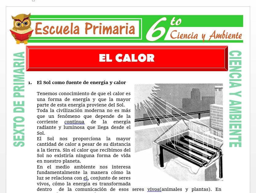 Modelo de la Ficha de El Calor para Sexto de Primaria