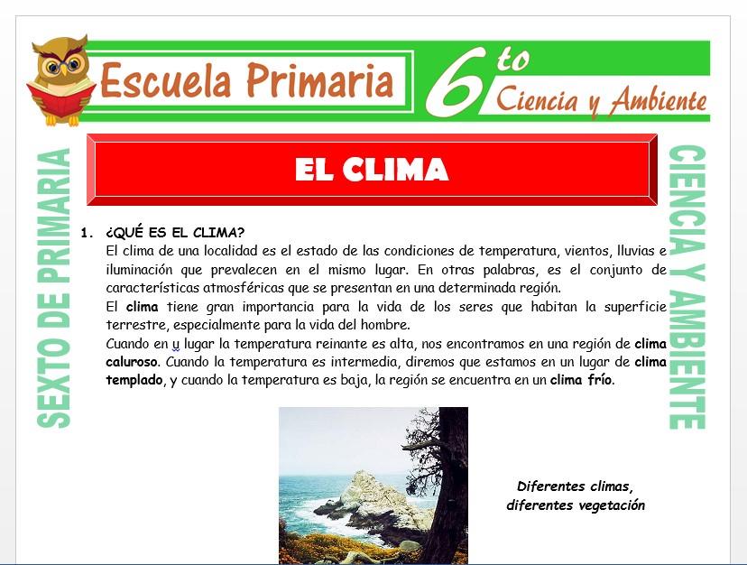 Modelo de la Ficha de El Clima para Sexto de Primaria