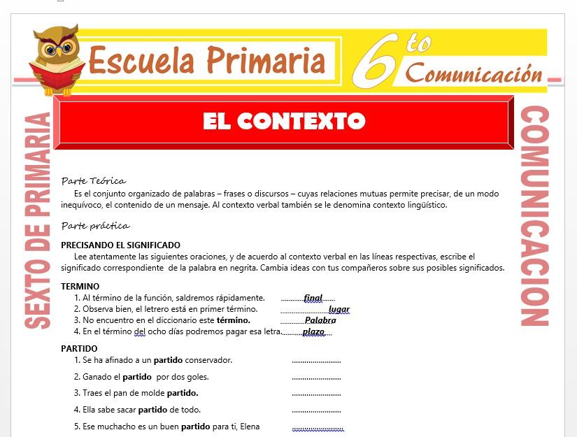 Modelo de la Ficha de El Contexto   para Sexto de Primaria