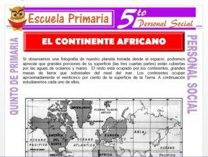 Modelo de la Ficha de El Continente Africano para Quinto de Primaria