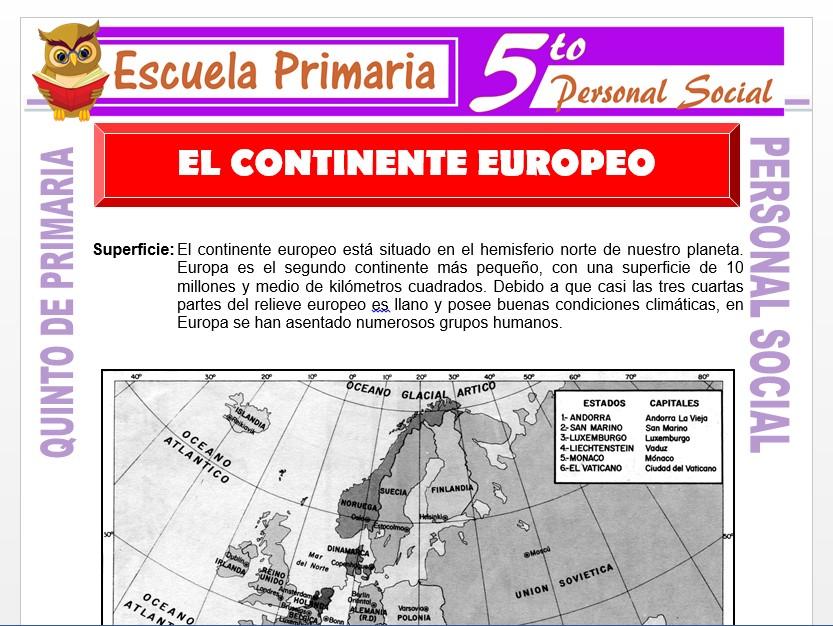 Modelo de la Ficha de El Continente Europeo para Quinto de Primaria