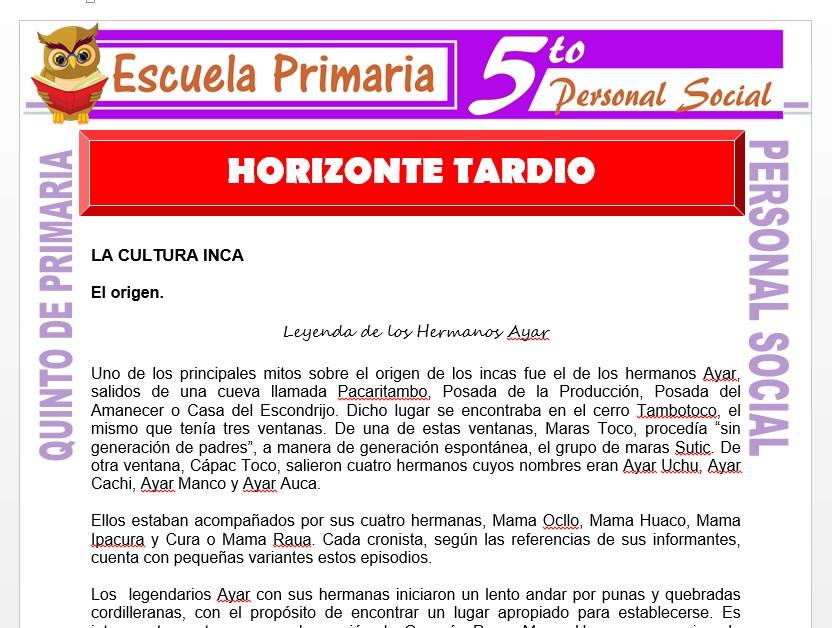 Modelo de la Ficha de El Horizonte Tardio para Quinto de Primaria