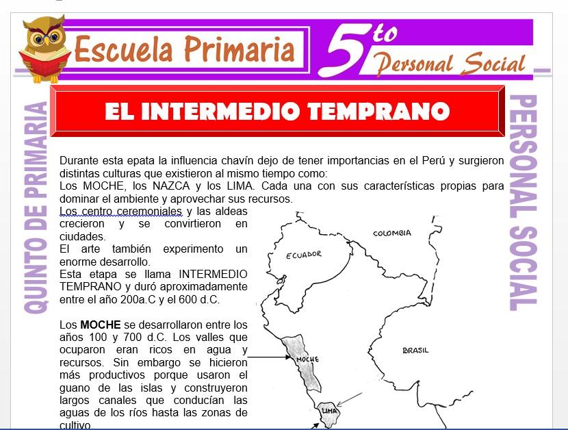 Modelo de la Ficha de El Intermedio Temprano para Quinto de Primaria