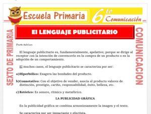 Modelo de la Ficha de El Lenguaje Publicitario para Sexto de Primaria