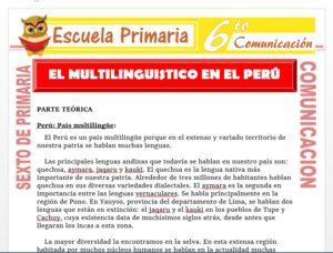 Modelo de la Ficha de El Multilinguistico en el Perú para Sexto de Primaria