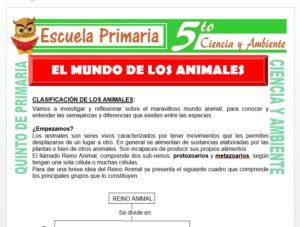 Modelo de la Ficha de El Mundo de los Animales para Quinto de Primaria
